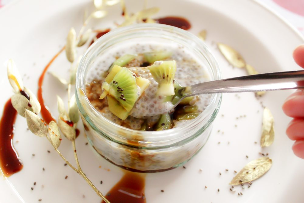Warm Chia Seeds Pudding with Coconut Milk & Kiwi