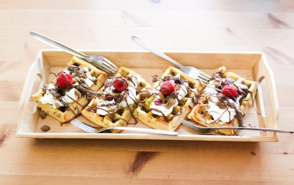 White Mulberries Waffle With Indigo Herbs